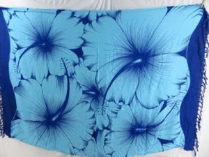 blue giant hibiscus flower resort wear kikoy kikepa lavalava