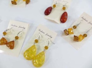 faux amber earrings with fish hook