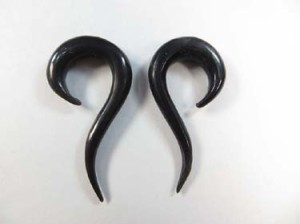 horn earring organic jewelry spiral long tail