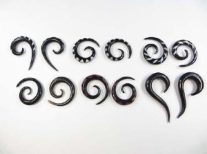 Spiral buffalo horn earrings swirl talons piercings gauges