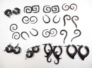 Organic horn jewelry earrings, plugs, hangers, sprials, peg stick earlets, huggies, tapers, talons