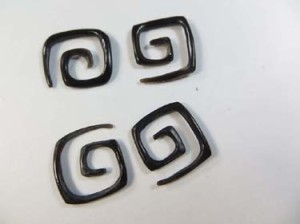 square corner spiral horn hooks gauged plugs hand carved