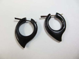 Hand Carved Tribal Water Buffalo Horn Arrowhead Earrings with horn stick.  Fits regular pierced ears