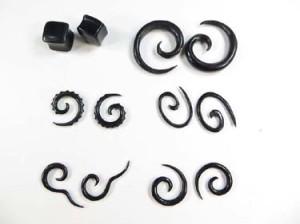 natural organic horn talon spirals flesh plug vampire pagan urban rock jewelry