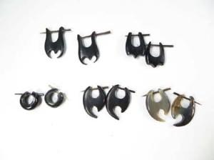 Handmade, Hand-Carved Water Buffalo Horn Stick-Through Earring Fits regular pierced ears.