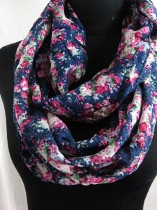 2-loop floral print women's infinity scarf, circle loop long shawl wrap, cowl neck scarf, circular endless scarves, eternity scarf. Soft, comfortable, lightweight and stylish