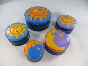 celestial sun moon star jewelry boxes in mixed sizes