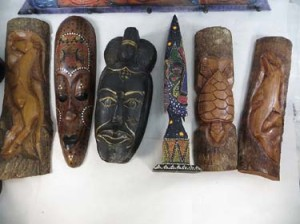 large wooden masks and wall decorations handmade in Bali Indonesia