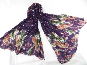 Purple crinkle poker dots and floral design long shawl wrap scarf stole sarong. Can be used as scarf, shawl, throw, stole, evening wrap, beach dress, summer skirt, swimwear cover-up.