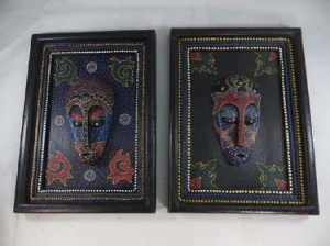 Thousand-dot style hand-crafted hand-painted wooden mask on frame