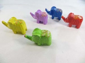 trunk up mini elephant set, wooden elephants ornament gifts for animal lover