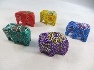 trunk down mini elephant set, wooden elephants ornament gifts for animal lover