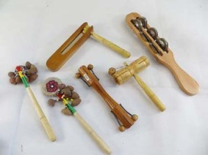 mixed designs of musical instruments handmade in Bali Indonesia, include shakers, tambourin stick, percussion instument etek-etck etc