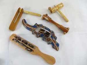 mixed designs of musical instruments handmade in Bali Indonesia, include shakers, tambourin stick, percussion instument etek-etck etc.