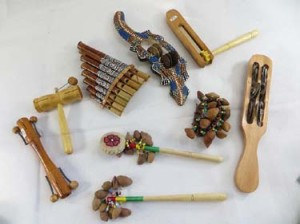 mixed designs of musical instruments handmade in Bali Indonesia, include shakers, tambourin stick, percussion instument etek-etck, Chajchas, panpipe pan flute etc.