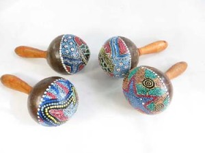 hand-held percussion musical instrument thousand-dot painted coconut shaker maracas rattle