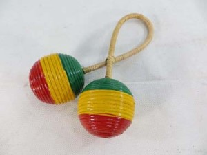rasta tribal percussion music instrument double twisted ball shaker