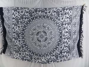 white and grey mandala sarong