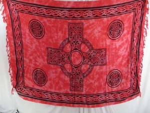 red celtic cross mundu pareau celtic stoles scarves