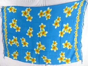 yellow plumeria flower blue sarong