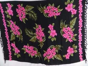 pink flower black sarong