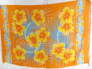 yellow hibiscus orange wrap sarong pareo swimsuit cover up