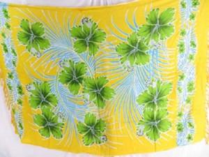 green hibiscus yellow aloha shawls kanga Mundu Pareau Hawaiian