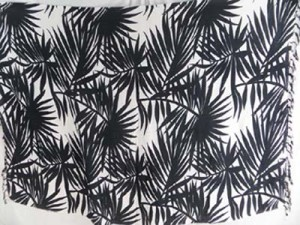 black palm leaf on white background sarong