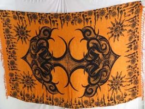 orange pareos kanga tattoo sarong Pagan wall hangings