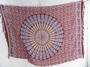 plum red color peacock feather design mandala sarong