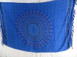 blue mandala tapestry bed cover shawl sarong beach wrap artwear spiritual healing wall hanging