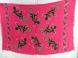wholesale beach style clothing gecko lizard fuchsia sarong