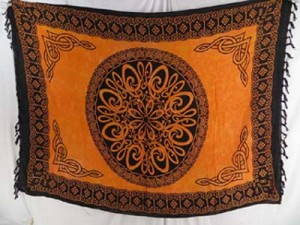 golden yellow celtic sarong wraps wiccan tapestries pagan wall hangings celtic wall art