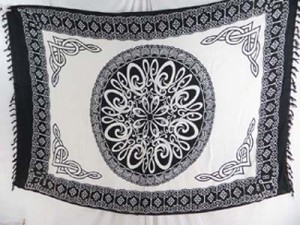 black and white celtic knotwork mandala sarong