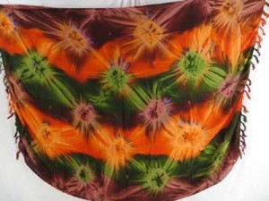 starburst orange green brown sarong pareo tie dye clothing