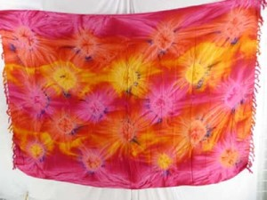 starburst pink red yellow tie dye sarong balinese sarongs