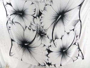 giant hibiscus flower pareos black and white sarong