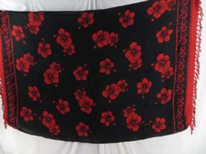 sarong wrap skirt flower sarongs black with red hibiscus flowers
