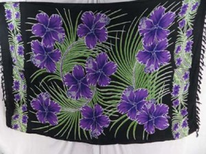 Hawaiian Pareo Cruise Clothing, purple hibiscus green palm leaf on black background