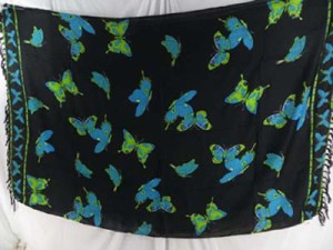 black sarong with blue green butterflies
