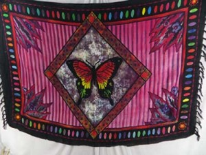 butterfly in diamond frame pink sarong
