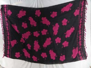 floral beachwear sarongs black and fuchsia florals