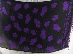 sarongs black and purple florals