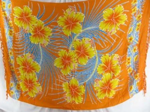 wholesale swimwear hawaiian flowers sarong orange yellow