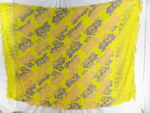 swimwear scarf double process yellow sarong with hibiscus flower