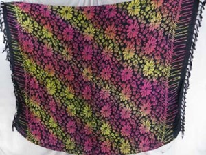 daisy print kanga shawl scarf yellow and pink stripe tie dye