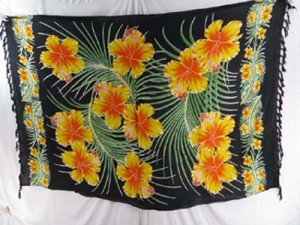 wholesale spa wear hawaiian flowers sarong yellow orange hibiscus in black background