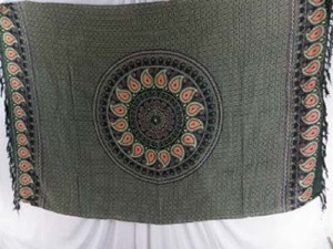 grey black orange paisley design mandala