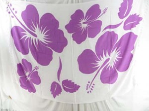 purple hibiscus on white background scarf shawls wraps resort sarong beachwear
