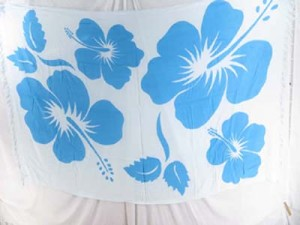 giant hibiscus blue and white dresses wraps indonesian handmade clothing